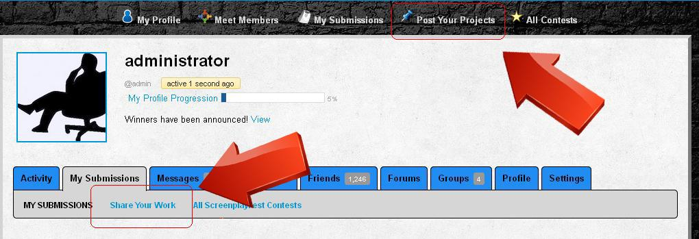 """Using the """"Share Your Work"""" link on your profile page allows you to post/submit to all of our contests as well as post a blog or update your status."""